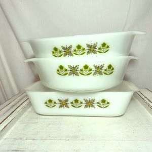 Fire King Anchor Hocking Green Meadow Loaf Set 3